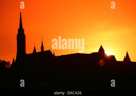 Budapest skyline with Matthias Church silhouette, Budapest, Hungary - Stock Photo