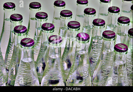 water mineral water bottles glass bottles bon aqua - Stock Photo