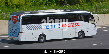 National Express coach on M25 London orbital motorway - Stock Photo