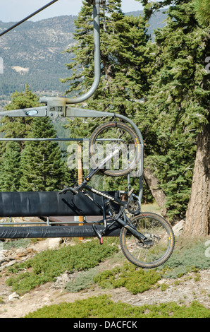 Mountain bike on chairlift at Big Bear Lake, California. - Stock Photo