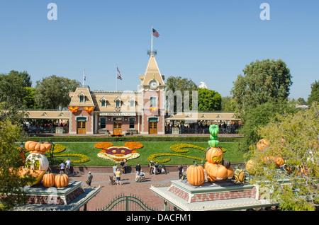 Disney World Railroad station magic kingdom Disneyland, Anaheim, California. - Stock Photo