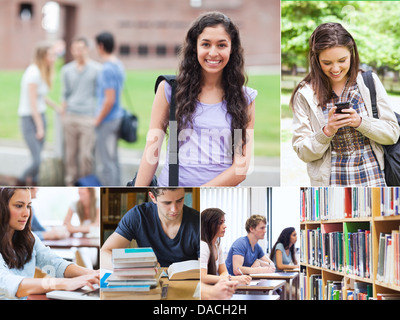 Montage with students - Stock Photo