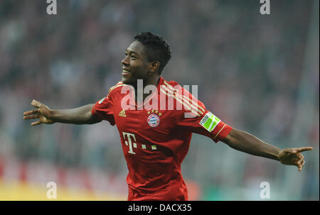 FILE - An archive picture dated 26 October 2011 shows Munich's David Alaba cheering about his goal against Ingolstadt - Stock Photo