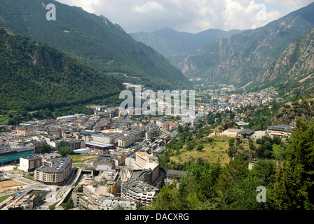 Andorra la Vella, capital city of Andorra state - Stock Photo