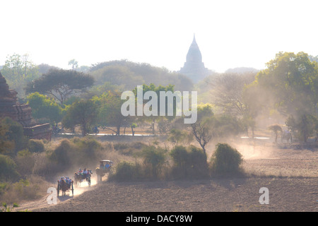 View over the temples of Bagan swathed in early morning mist, from Shwesandaw Paya, Bagan, Myanmar (Burma), Southeast - Stock Photo
