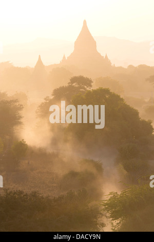 View over the temples of Bagan swathed in dust and evening sunlight, from Shwesandaw Paya, Bagan, Myanmar - Stock Photo