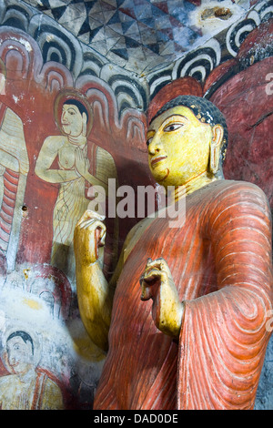 Asia, Sri Lanka, Central Province , Dambulla,Golden Temple of Dambulla, Devaraja lena,'Cave of the Divine King' - Stock Photo