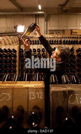 Taster Konrad Scheerbaum rotates sparkling wine bottles at the State Vineyard Castle Wackerbarth in Radebeul, Germany, - Stock Photo