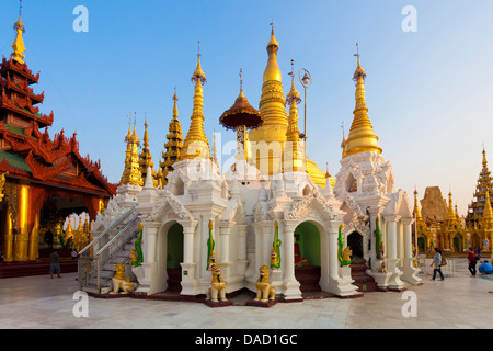 Temples and shrines at Shwedagon Paya (Pagoda), Yangon (Rangoon), Myanmar (Burma), Asia - Stock Photo