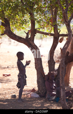 Himba boy standing in the shade of a tree in semi-silhouette, Kunene Region (formerly Kaokoland) in the far north - Stock Photo