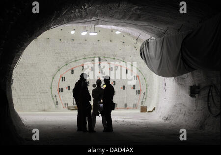 FILE - An archive picture dated 04 April 2010 shows miners and visitors looking at a side tunnel of the exploration - Stock Photo