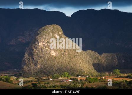 View across Vinales Valley, UNESCO Site, from Hotel Los Jasmines, Vinales, Pinar Del Rio Province, Cuba, West Indies - Stock Photo