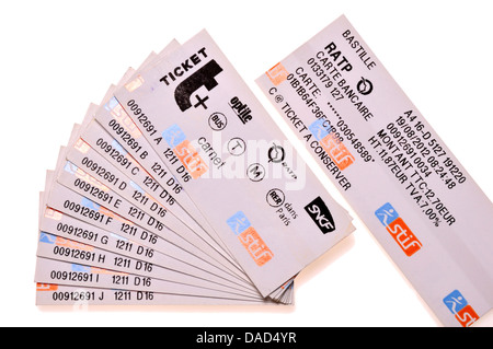 Paris metro tickets. A 'carnet' - 10 tickets bought together at discount - Stock Photo