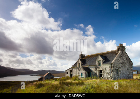 Abandoned croft near the village of Lacasaidh (Laxay), Isle of Lewis, Outer Hebrides, Scotland, United Kingdom, - Stock Photo