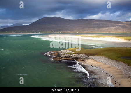 View across the beach at Seilebost towards Luskentyre, Seilebost, Isle of Harris, Outer Hebrides, Scotland, UK - Stock Photo