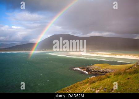 View across the beach at Seilebost towards Luskentyre, Seilebost, Isle of Harris, Outer Hebrides, Scotland, UK - Stock Photo