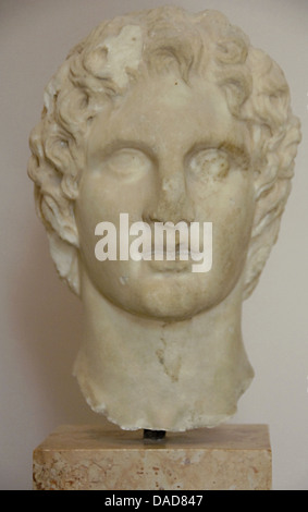 Alexander the Great (356-323 BC). King of Macedon. Bust by sculptor Leochares, 330 AC. Acropolis Museum. Athens. - Stock Photo