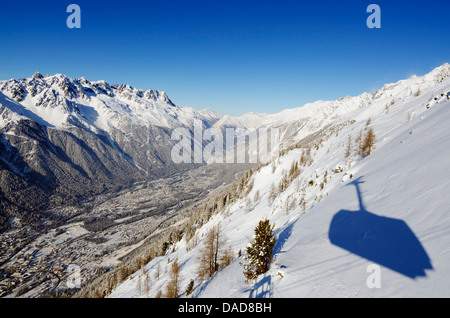 View from Aiguille du Midi cable car, Chamonix, Haute-Savoie, French Alps, France, Europe - Stock Photo