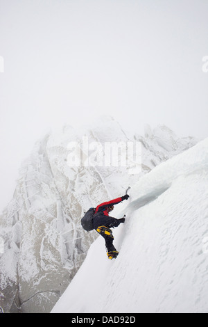 Ice climbing on Aiguille du Midi, Chamonix, Haute-Savoie, French Alps, France, Europe - Stock Photo