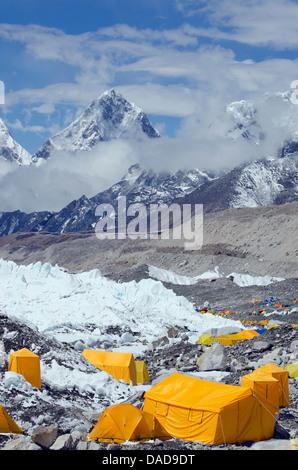 Tents at Everest Base Camp, Solu Khumbu Everest Region, Sagarmatha National Park, UNESCO World Heritage Site, Nepal, - Stock Photo