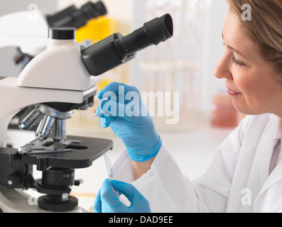 Female microbiologist viewing specimen slide under microscope in lab - Stock Photo