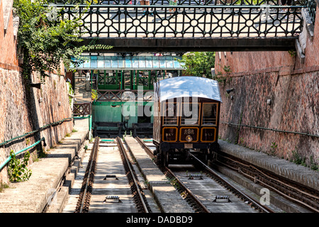 Funicular to Buda castle in Budapest, Hungary - Stock Photo