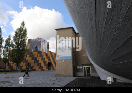 The large windtunnel (R) is seen at the Aerodynamic Park on the campus of Humboldt University in Berlin-Adlershof - Stock Photo
