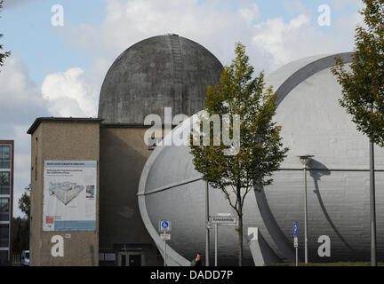 The large windtunnel is seen at the Aerodynamic Park on the campus of Humboldt University in Berlin-Adlershof in - Stock Photo