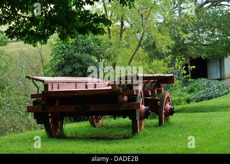 Lions River, KwaZulu-Natal, South Africa, red ox wagon on green grass in garden at Lions River Trading store, Midlands - Stock Photo