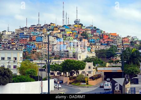 colorful houses in urban district Las Penas, Cerro Santa Ana, Ecuador, Guayaquil - Stock Photo