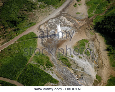 Aerial view of the Strokkur Geysir, Iceland - Stock Photo