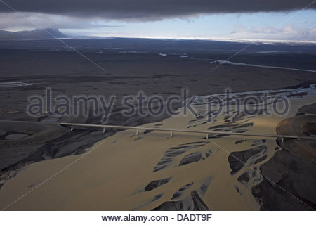 Aerial view of bridge crossing glacial river, South Iceland - Stock Photo