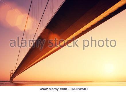 golden hour humber bridge - Stock Photo