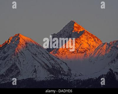 alpenglow in Aosta Valley, Italy, Gran Paradiso National Park, Valsavaranche - Stock Photo