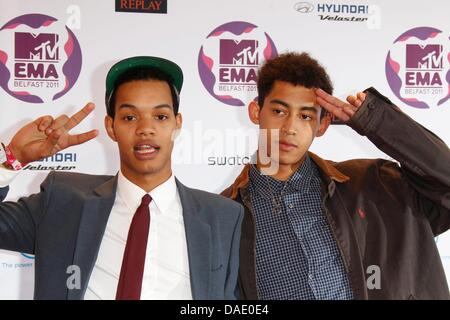 Rizzle Kicks are an English hip-hop duo Jordan 'Rizzle' Stephens (l) and Harley 'Sylvester' Alexander-Sule attends - Stock Photo