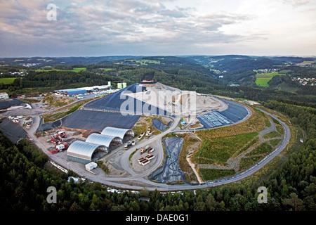 aerial view to recycling depot, Germany, North Rhine-Westphalia, Oberbergischer Kreis, Lindlar - Stock Photo