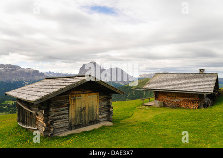 lots of alpine huts on mountain pasture in front of alpine panorama with Langkofel and Plattkofel, Italy - Stock Photo