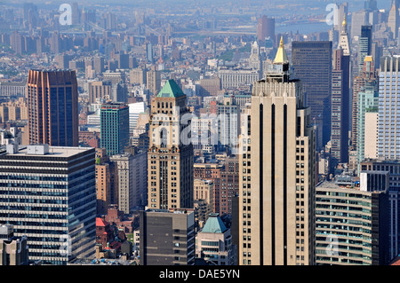 panoramic view from the observation deck 'Top of the Rock' of the Rockefeller Center over Downtown Manhattan, USA, - Stock Photo
