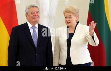 Vilnius, Lithuania. 11th July, 2013. German President Joachim Gauck is greeted by Lithuanian President Dalia Grybauskaite - Stock Photo