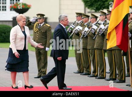 Vilnius, Lithuania. 11th July, 2013. German President Joachim Gauck is received by Lithuanian President Dalia Grybauskaite - Stock Photo