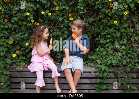 Brother and sister eating ice lollies by plants - Stock Photo