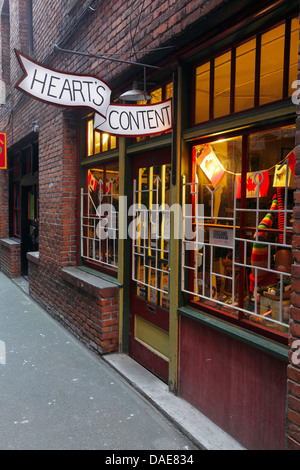 Fan Tan Alley in Chinatown, world's narrowest street-Victoria, British Columbia, Canada. - Stock Photo