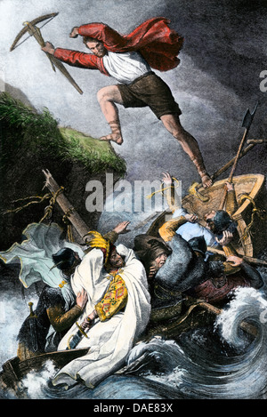 Escape of William Tell from a sinking boat during the Swiss independence movement, 1300s. Hand-colored woodcut - Stock Photo