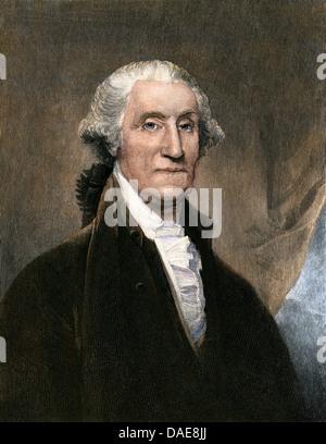 Portrait of George Washington while US President, 1795. Hand-colored woodcut - Stock Photo