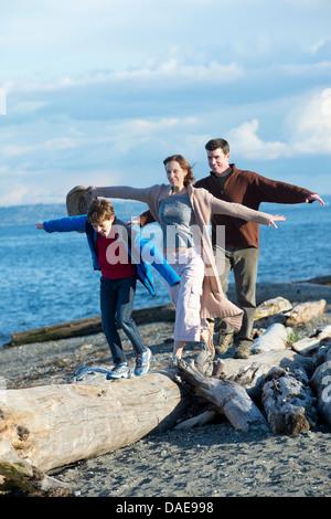 Family walking across tree trunk at coast - Stock Photo
