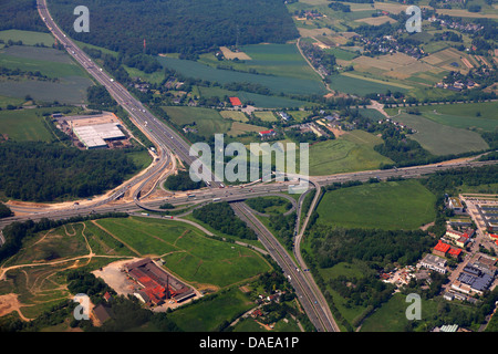 aerial view to motorway junction Breitscheid A3 an A52, aerial photo, Germany, Ratingen - Stock Photo