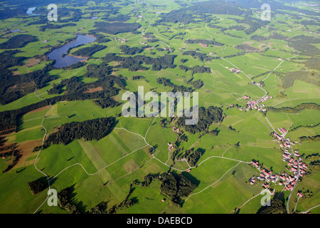 aerial view to Deutensee and Lauterbach, Germany, Bavaria, Allgaeu, Steingaden - Stock Photo