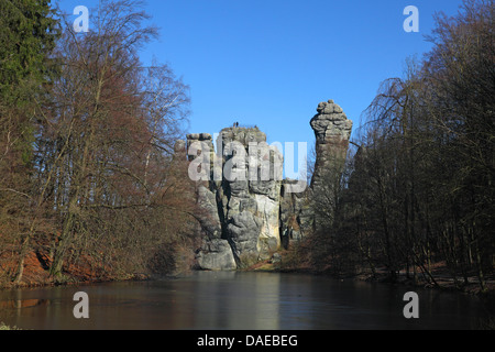 sandstone rock formation Externsteine, Germany, North Rhine-Westphalia, Teutoburg Forest - Stock Photo