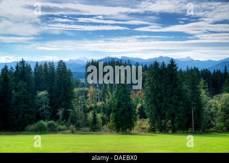 view from Alpine foreland to Ammergau Alps, Germany, Bavaria, Oberbayern, Upper Bavaria - Stock Photo