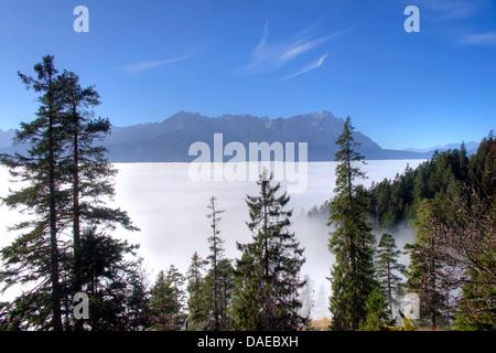 view over ground fog to Zugspitze, Germany, Bavaria, Oberbayern, Upper Bavaria, Garmisch-Partenkirchen - Stock Photo